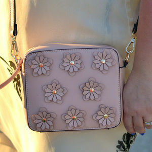 Melie Bianco pink flower applique crossbody purse